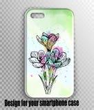 Stilvolles Vektor iphone Abdeckungsmodell - Aquarellgrün, frischer Druck des Frühlinges mit Blumen lizenzfreie stockfotografie