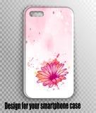 Stilvolles Vektor iphone Abdeckungsmodell - Aquarellrosadruck mit Gerberablume vektor abbildung