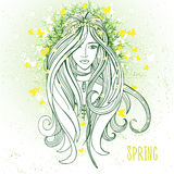 Stimmung der jungen Frau im Frühjahr als Symbol des Weckens der Natur Stockfoto