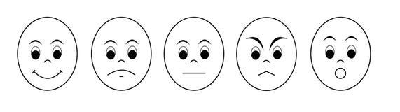 Stimmungs-Vektor-Gesichter Stockbilder