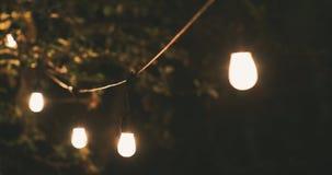 Stimmungsbeleuchtung - Parteikettenlichter, die zu Hause im langsamen Garten des Winds schwingen stock video