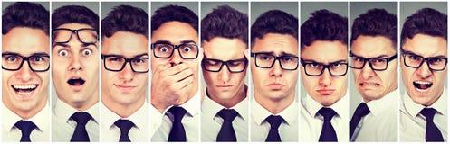Stimmungswechsel Ändernde Gefühle des Mannes von glücklichem zur Verärgerung stockfotografie