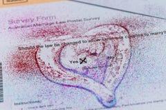 Stimmzettel der Postübersicht der australischen homosexuellen Ehe Lizenzfreie Stockfotografie