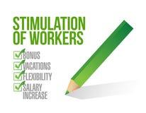 Stimulans av arbetare. illustration för kontrolllista vektor illustrationer