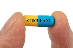 Stimulanscapsule in close-up stock foto's