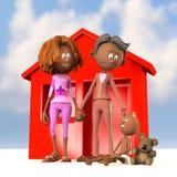 Stimulation heureuse d'adoption de famille Images libres de droits
