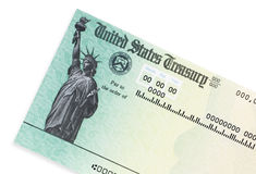 Stimulus Check. US treasury check on a white background Royalty Free Stock Photos