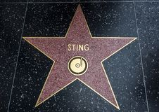 Sting-` s Stern, Hollywood-Weg des Ruhmes - 11. August 2017 - Hollywood Boulevard, Los Angeles, Kalifornien, CA Lizenzfreies Stockfoto