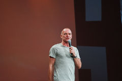 Sting welcomes attendees of Oracle OpenWorld Stock Photo