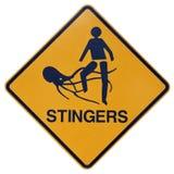 Stingers marini o segnale di pericolo delle meduse Immagine Stock