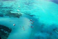 Stingray City. Arial photo of Stingray City sand bar in Grand Cayman Stock Photos