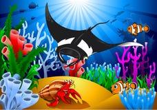 Stingray and crab Stock Photo
