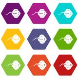 Stingray fish icon set color hexahedron. Stingray fish icon set many color hexahedron isolated on white vector illustration Stock Photos