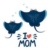 Stingray ryba kocham mamy royalty ilustracja