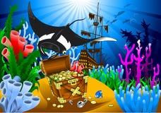 Stingray and treasure Royalty Free Stock Photos