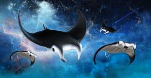 Stingrocka för flygyttre rymdManta royaltyfri illustrationer