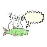 stinkande fisk för tecknad film med anförandebubblan Royaltyfri Bild
