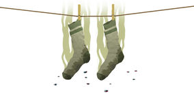 Stinkande sockor, illustration 3d Arkivbild