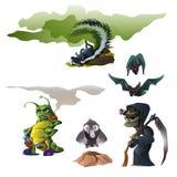 Stinkdier, knuppel, heks, insect en mol voor Halloween vector illustratie