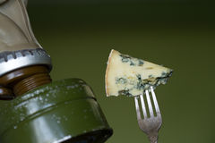 Stinky cheese and man in the gas mask. Abstract fun royalty free stock photo