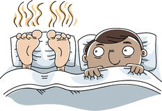Stinky Feet in Bed. A cartoon man is unable to sleep because of the stinky feet next to him Royalty Free Stock Images