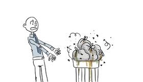 Stinky garbage bags. Flies and dripping from garbage basket, angry man vector illustration