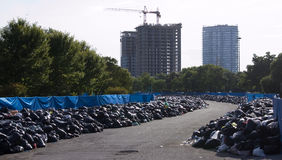 Stinky Parking Lot. Toronto parking lot used as temporary dump site during the 2009 garbage strike in Toronto, Canada. The strike lead to closing of municipal Royalty Free Stock Image