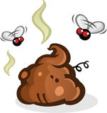 Stinky Poop Pile with Flies Cartoon Royalty Free Stock Images