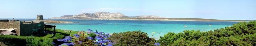 Stintino Panorama. Sassari - Sardegna - Italy. Panoramic shot of Stintino - La Pelosa beach - Sassari - Sardegna - Italy royalty free stock photography