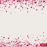 Stippel patroon voor ontwerp Kleurrijk minimalistic geometrisch patroon met willekeurig gevestigde kleine harten Rood hart Stock Fotografie