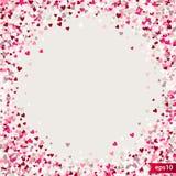 Stippel patroon voor ontwerp Kleurrijk minimalistic geometrisch patroon met willekeurig gevestigde kleine harten Rood hart Royalty-vrije Stock Foto's