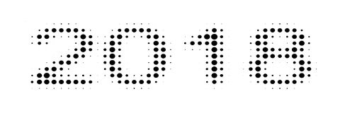 stippelt eenvoudige banner 2018 halftone effect, malplaatje voor de grappige banner van het ontwerppop-art Royalty-vrije Stock Afbeeldingen