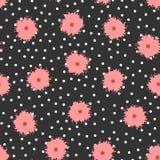 Stippen en bloemen met borstel worden geschilderd die Leuk bloemen naadloos patroon Royalty-vrije Stock Afbeeldingen