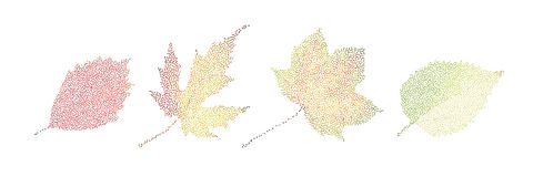 Stipple colorful isolated vector botanic garden nature Autumn le. Af collection can be used for both print and web page Royalty Free Stock Images
