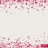 Stipple pattern for design. Colorful minimalistic geometric pattern with randomly located small hearts. Red heart. Glitter background. Gradually changing Stock Photography