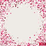 Stipple pattern for design. Colorful minimalistic geometric pattern with randomly located small hearts. Red heart. Glitter background. Gradually changing Royalty Free Stock Photos