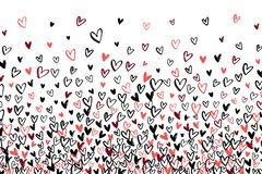 Stipple pattern for design. Gradually changing density backdrop with red, black and pink hand drawn hearts. Romantic texture.  vector illustration