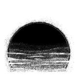 Stipple Sun. Sunset made in dotwork style. Stipple Sun. Hand drawn sunset made in dotwork style. Dots form halftone. Isolated vector illustration. Can be tattoo Royalty Free Stock Images