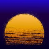 Stipple Sun. Sunset made in dotwork style. Stipple Sun. Hand drawn sunset made in dotwork style. Dots form halftone. Isolated vector illustration. Can be tattoo Royalty Free Stock Photos