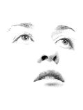 Stipple You. Face features of young woman's face executed in stipple style Stock Photos