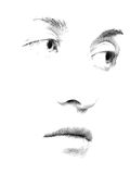 Stipple You. Face features of young woman's face executed in stipple style Stock Images