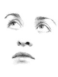 Stipple You. Face features of young woman's face executed in stipple style Stock Photography