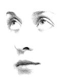 Stipple You. Face features of young woman's face executed in stipple style Stock Photo