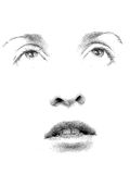Stipple You. Face features of young woman's face executed in stipple style Royalty Free Stock Images