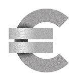Stippled euro sign icon. Euro currency symbol. Vector illustration Royalty Free Stock Photography