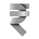 Stippled Indian Rupee sign icon. INR currency symbol. Vector illustration Royalty Free Stock Photos
