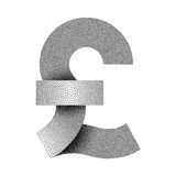 Stippled pound sterling sign icon. Pound currency symbol. Vector illustration. Royalty Free Stock Photography