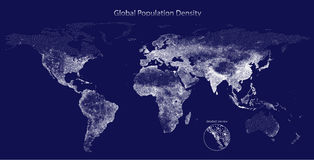 Stippled vector map of global population density. Dark edition Royalty Free Stock Photography