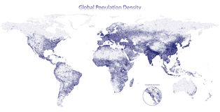 Stippled vector map of global population density Stock Photography