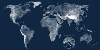 Stippled światowa reliefowa wektorowa mapa Fotografia Royalty Free